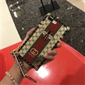 Gucci Pattern Honeybee Silicone Cases For iPhone 8 Plus Acrylic Lanyard Rivet Mirror Covers - Brown