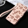 Hermes Print Flip Leather Case Universal Holster Skin for iPhone 8 Plus Rope Cover - Beige
