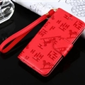 Hermes Print Flip Leather Case Universal Holster Skin for iPhone 8 Plus Rope Cover - Red
