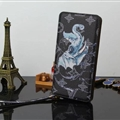 LV Animals Elephant Print Leather Case Universal Holster for iPhone 8 Plus Louis Vuitton Cover - Black