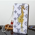 LV Animals Giraffe Flip Leather Case Universal Holster for iPhone 8 Plus Louis Vuitton Cover - White