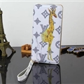 LV Animals Giraffe Print Leather Case Universal Holster for iPhone 8 Plus Louis Vuitton Cover - White