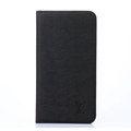 LV Classic Water Ripple Leather Case Universal Holster for iPhone 8 Plus Louis Vuitton Cover - Black
