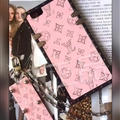 LV Faux Leather Rivet Lanyards Cases Shell For iPhone 8 Plus Silicone Metal Covers - Pink