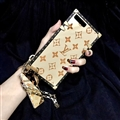 LV Flower Pattern Silicone Cases For iPhone 8 Plus Louis Vuitton Lanyard Rivet Mirror Covers - Gold