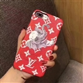 LV Print Animals Elephant Leather Case for iPhone 8 Plus Louis Vuitton Hard Back Cover - Red