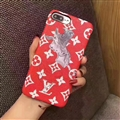 LV Print Animals Hippo Leather Case for iPhone 8 Plus Louis Vuitton Hard Back Cover - Red