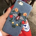 Luxury Gucci Embroidery Bees Cowboy Cloth Cases for iPhone 8 Plus Hard Back Cover - Blue