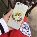 Luxury Gucci Embroidery Tiger Cowboy Cloth Cases for iPhone 8 Plus Hard Back Cover - Light Blue