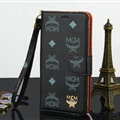 MCM Print Flip Leather Case Universal Holster Skin for iPhone 8 Plus Rope Cover - Black