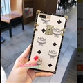 MCM Rabbit Pattern Silicone Cases For iPhone 8 Plus Acrylic Lanyard Rivet Mirror Covers - White