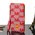 MK Print Leather Case Universal Holster Skin for iPhone 8 Plus Michael Kors Cover - Red