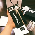 New Chanel 3D Flower Lanyards Silicone Cases For iPhone 8 Plus Metal Stripe Back Covers - Black