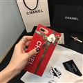 New Chanel 3D Flower Lanyards Silicone Cases For iPhone 8 Plus Metal Stripe Back Covers - Red