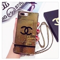 New Chanel Faux Leather Lanyards Cases Shell For iPhone 8 Plus Silicone Covers - Gold