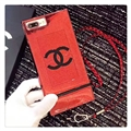 New Chanel Faux Leather Lanyards Cases Shell For iPhone 8 Plus Silicone Covers - Red