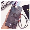 New Chanel Faux Leather Lanyards Cases Shell For iPhone 8 Plus Silicone Covers - Sliver
