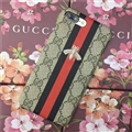 New Embroidery Bees Gucci Pattern Leather Case Hard Back Cover for iPhone 8 Plus - Black
