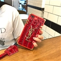 YSL Crocodile Pattern Silicone Cases For iPhone 8 Plus Acrylic Lanyard Rivet Mirror Covers - Red