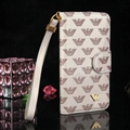 Armani Print Flip Leather Case Universal Holster for iPhone X Monogram Vernis Cover - Beige