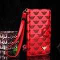 Armani Print Flip Leather Case Universal Holster for iPhone X Monogram Vernis Cover - Red