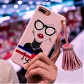 Cartoon Embroidery Goddess Silicone Cases For iPhone X Lanyard Rivet Soft Covers - Pink