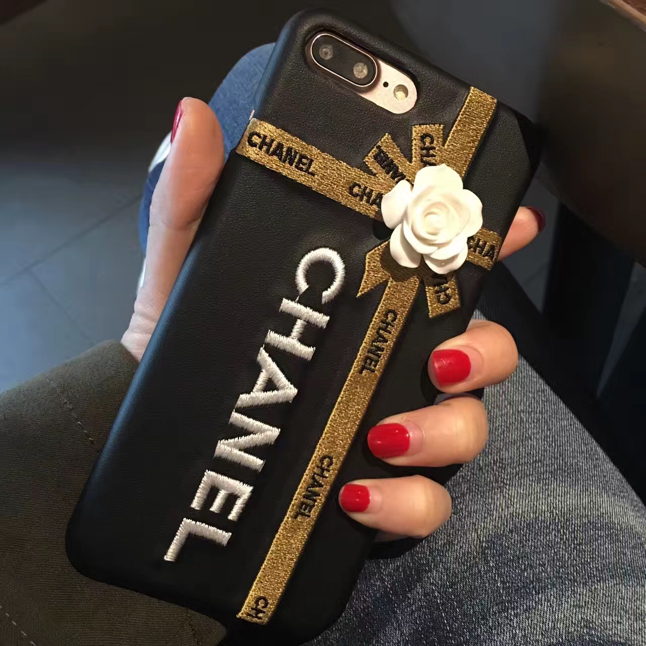 Buy Wholesale Chanel Embroidery 3D Flower Leather Case for ...