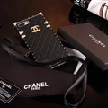 Chanel Leather Lanyards Rivet Metal Cases Shell For iPhone X Anti-seismic Soft Covers - Black