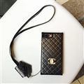 Classic Chanel Faux Leather Lanyards Cases Shell For iPhone X Silicone Covers - Black