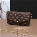 Classic LV Rivet Leather Case for iPhone X Louis Vuitton Flower Print Chain Bag - Brown
