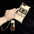 Givenchy Pattern Silicone Cases For iPhone X Acrylic Lanyard Rivet Mirror Covers - Gold