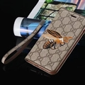 Gucci Embroidery Bees Flip Leather Cases Holster for iPhone X Rope Cover - Brown