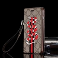 Gucci Embroidery Snake Flip Leather Cases Holster for iPhone X Rope Cover - Brown