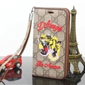 Gucci Embroidery Tiger Flip Leather Cases Holster for iPhone X Rope Cover - Brown