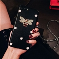 Gucci Honeybee Leather Cases For iPhone X Rhinestone Lanyard Silicone Covers - Black
