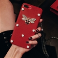 Gucci Honeybee Leather Cases For iPhone X Rhinestone Lanyard Silicone Covers - Red