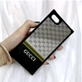 Gucci Pattern Honeybee Silicone Cases For iPhone X Acrylic Lanyard Rivet Mirror Covers - Gray
