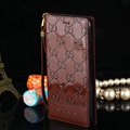 Gucci Print Flip Leather Case Universal Holster Skin for iPhone X Rope Cover - Brown