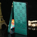 Gucci Print Flip Leather Case Universal Holster Skin for iPhone X Rope Cover - Green