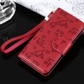 Hermes Print Flip Leather Case Universal Holster Skin for iPhone X Rope Cover - Wine Red