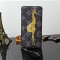 LV Animals Giraffe Print Leather Case Universal Holster for iPhone X Louis Vuitton Cover - Black