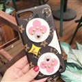 LV Chick Rivet Leather Case for iPhone X Louis Vuitton Flower Hard Cover - Brown Pink