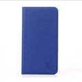 LV Classic Water Ripple Leather Case Universal Holster for iPhone X Louis Vuitton Cover - Blue