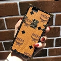 MCM Rabbit Pattern Silicone Cases For iPhone X Acrylic Lanyard Rivet Mirror Covers - Brown