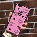 MCM Rabbit Pattern Silicone Cases For iPhone X Acrylic Lanyard Rivet Mirror Covers - Pink