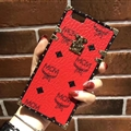 MCM Rabbit Pattern Silicone Cases For iPhone X Acrylic Lanyard Rivet Mirror Covers - Red