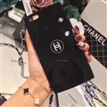 New Chanel Puff Cake Lanyards Cases Shell For iPhone X Mirror Back Covers - Black