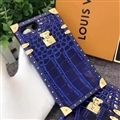 New Stars Style LV Flower Pattern Metal Leather Cases For iPhone X Louis Vuitton Cover - Blue