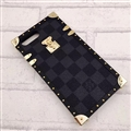 Newest LV Classic Plaid Pattern Leather Cases For iPhone X Louis Vuitton Metal Cover - Black