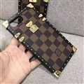 Newest LV Classic Plaid Pattern Leather Cases For iPhone X Louis Vuitton Metal Cover - Brown